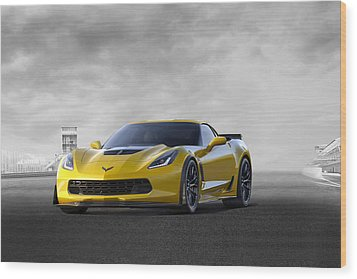 Wood Print featuring the digital art Victory Yellow  by Peter Chilelli