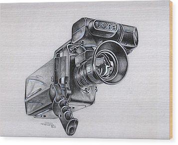 Video Camera, Vintage Wood Print
