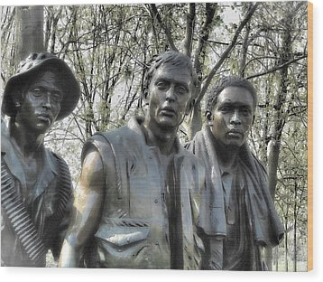 Wood Print featuring the photograph Vietnam War Memorial by Nigel Fletcher-Jones
