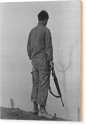 Vietnam War. Us Infantryman Looks Wood Print by Everett