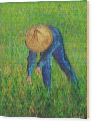 Vietnamese Rice Planter  Wood Print by Lore Rossi