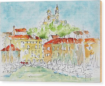 Wood Print featuring the painting Vieux Port Marseille by Pat Katz