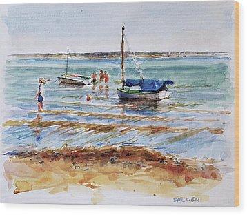 View Across Provincetown Harbor Wood Print by Peter Salwen