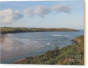 Wood Print featuring the photograph View Across The Gannel Estuary by Nicholas Burningham