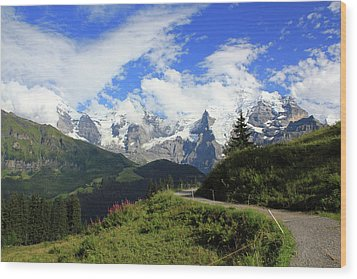 View At The Famous Mountains Eiger Moench And Jungfrau Switzerland Wood Print