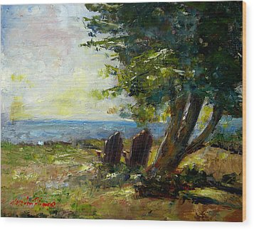 View For Two Wood Print by Rose Ann Albanese