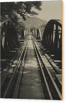 View From A Bridge - River Kwai Wood Print by Kelly Jones