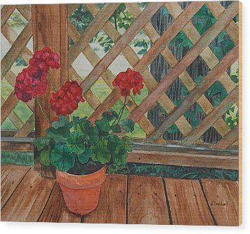 View From A Deck Wood Print by Lynne Reichhart