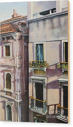 Wood Print featuring the painting View From A Venetian Window by Marlene Book