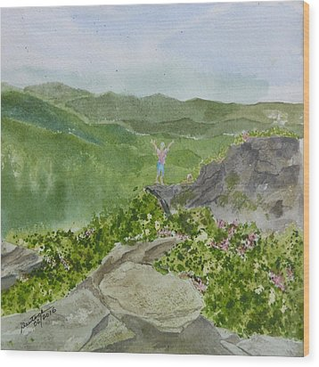 Wood Print featuring the painting View From Craggy Gardens - A Watercolor Sketch  by Joel Deutsch