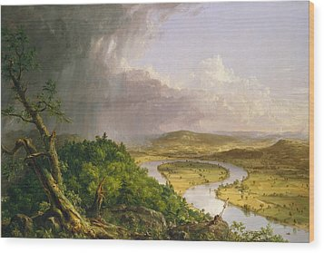 Wood Print featuring the painting View From Mount Holyoke Northampton Massachusetts After A Thunderstorm. The Oxbow by Thomas Cole
