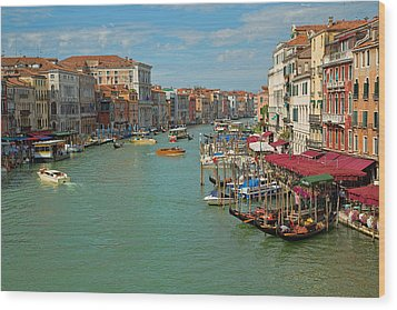 Wood Print featuring the photograph View From Rialto Bridge by Sharon Jones