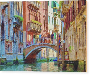 View From The Canal Wood Print by Jeff Kolker