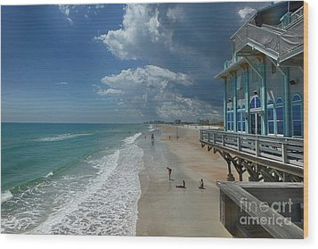 View From The Pier Wood Print by Judy Hall-Folde