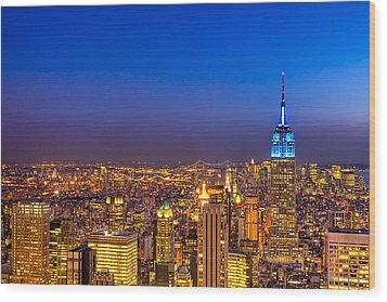 View From The Top - Nyc Skyline Wood Print by Mark E Tisdale