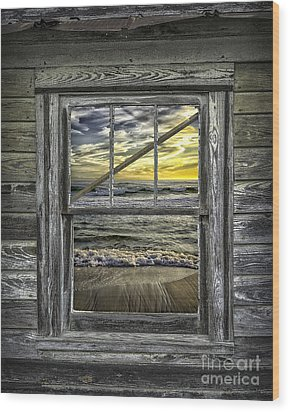 View From Weathered Beach Cottage Wood Print by Walt Foegelle