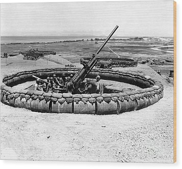 View Of A 90mm Aaa Gun Emplacement Wood Print by Stocktrek Images