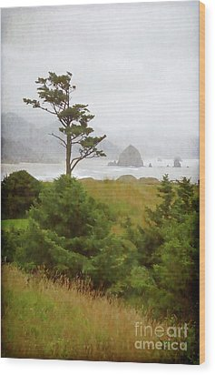 View Of Cannon Beach In The Fog Wood Print