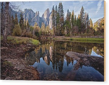 View Of Cathedral Peaks Wood Print by photos by Crow Carol Rukliss, Photographer