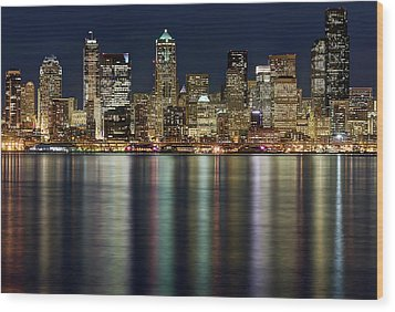 View Of Cityscape At Night Wood Print by Stephen Kacirek