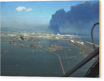 View Of Destroyed Sendai Japan On March Wood Print by Everett