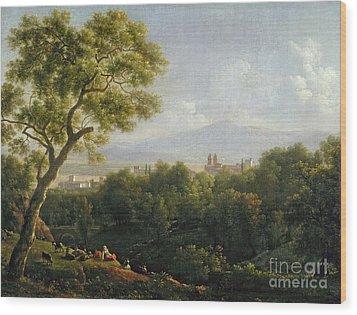 View Of Frascati Wood Print by Jean Bidauld