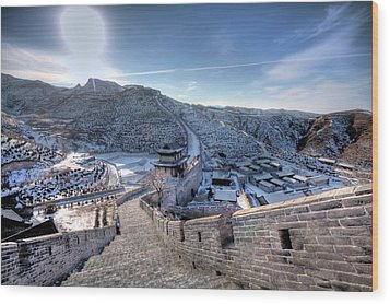 View Of Great Wall Wood Print by Photograph by Sunny Ip.