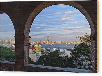 Wood Print featuring the photograph View Of Kaohsiung City At Sunset Time by Yali Shi