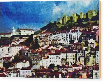 Wood Print featuring the photograph View Of Lisbon by Dariusz Gudowicz