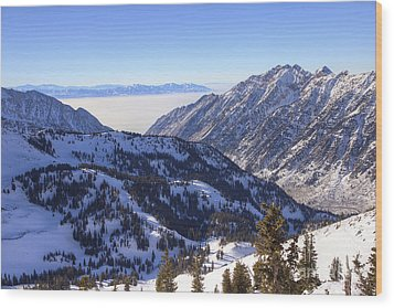 View Of Little Cottonwood Canyon From Hidden Peak Wood Print by Spencer Baugh