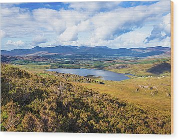 View Of Lough Acoose In Ballycullane From The Foothill Of Macgil Wood Print by Semmick Photo