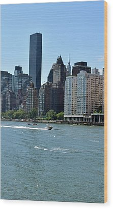View Of Manhattan From Roosevelt Island Wood Print by Sandy Taylor