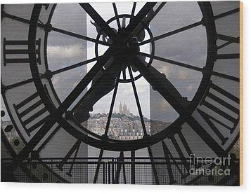 View Of Montmartre Through The Clock At Museum Orsay.paris Wood Print by Bernard Jaubert