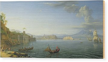 View Of Naples Wood Print by Adrien Manglard