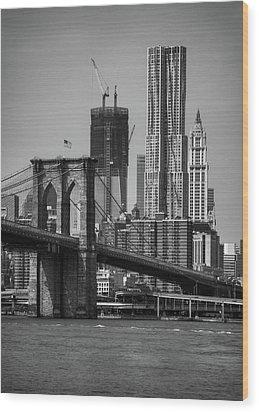 View Of One World Trade Center And Brooklyn Bridge Wood Print by Matt Pasant