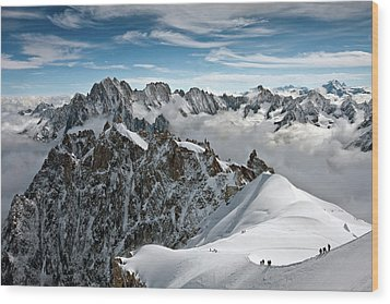 View Of Overlooking Alps Wood Print by Ellen van Bodegom