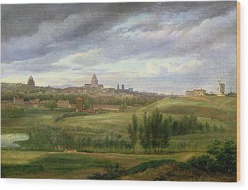 View Of Paris From Butte Aux Cailles Wood Print by Jean Baptiste Gabriel Langlace