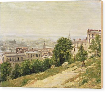 View Of Paris Wood Print by Stanislas Victor Edouard Lepine