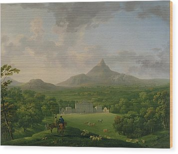 View Of Powerscourt - County Wicklow Wood Print by George the Elder Barret