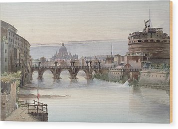 View Of Rome Wood Print by I Martin