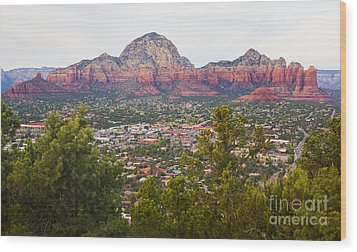 Wood Print featuring the photograph View Of Sedona From The Airport Mesa by Chris Dutton