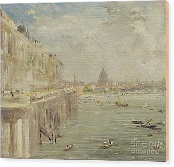 View Of Somerset House Terrace And St. Paul's Wood Print by John Constable