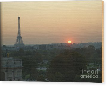 View Of Sunset From The Louvre Wood Print