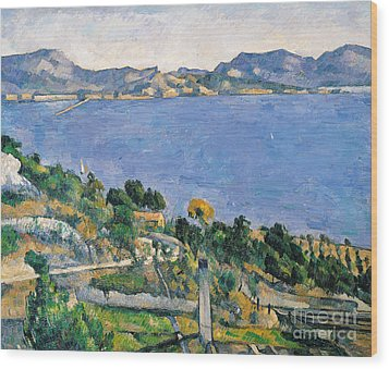 View Of The Bay Of Marseilles Wood Print by Paul Cezanne