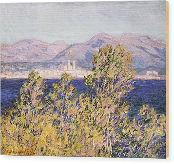 View Of The Cap Dantibes With The Mistral Blowing Wood Print by Claude Monet
