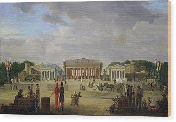View Of The Grand Theatre Constructed In The Place De La Concorde For The Fete De La Paix Wood Print by Jean Baptiste Louis Cazin