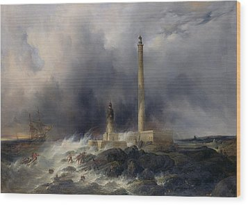 View Of The Lighthouse At Gatteville Wood Print by Jean Louis Petit