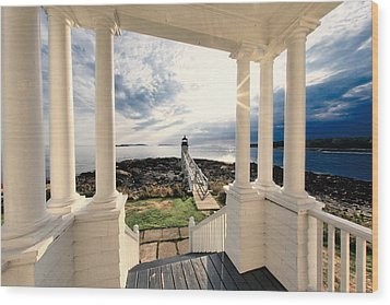 View Of The Marshall Point Lighthouse From The Keeper's House Wood Print by George Oze