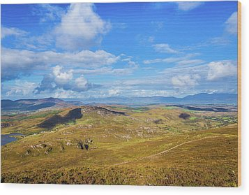 View Of The Mountains And Valleys In Ballycullane In Kerry Irela Wood Print by Semmick Photo