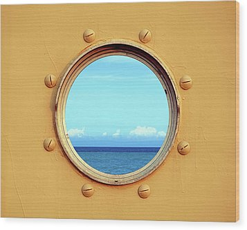View Of The Ocean Through A Porthole Wood Print by Yali Shi